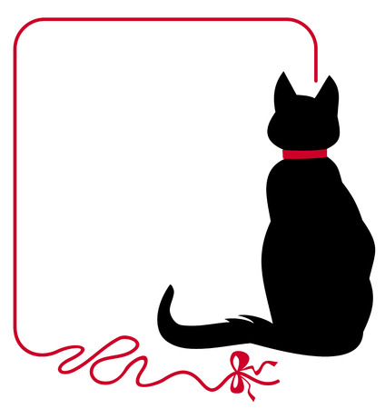 copy text: Black cat in red collar is sitting back to the audience Illustration