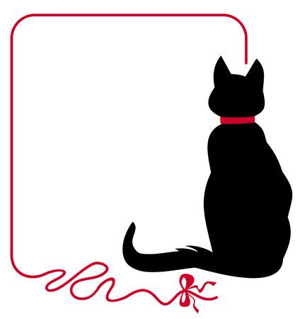 gato dibujo: Gato negro en el cuello rojo está sentado de espaldas al público