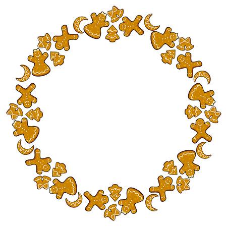 galletas de jengibre: galletas de jengibre marco redondo Vectores