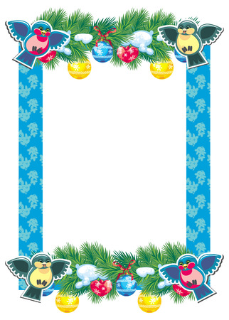 Christmas frame with garland and birds Vector