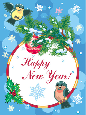 New Year greeting card with pine branch and birds Vector