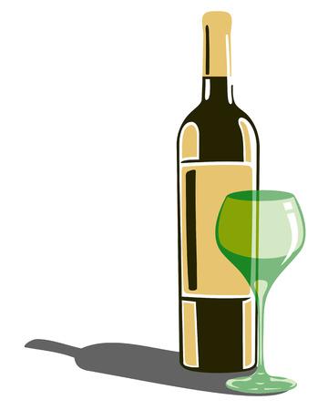 bocal: Bottiglia di vino e bicchiere di vino isolato su uno sfondo bianco