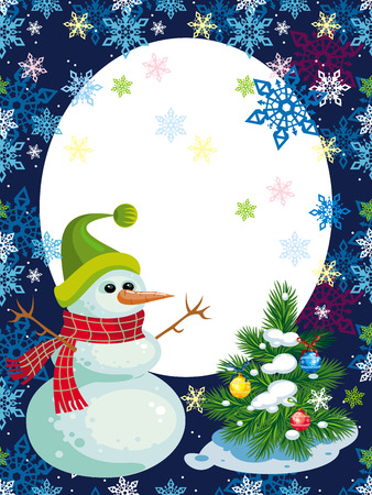 Christmas background with snowman and a little Christmas tree Vector