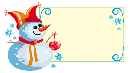 Christmas frame and  happy snowman Vector
