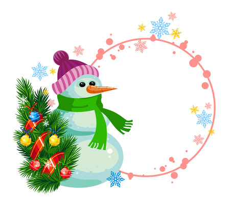 Snowman with a Christmas tree is standing near the round frame with free space for your greeting text Vector