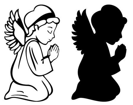 silueta niño: Ángel de rogación
