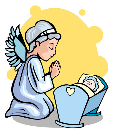 A guardian angel and a newborn baby boy