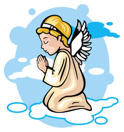 Angel is praying in the sky Illustration