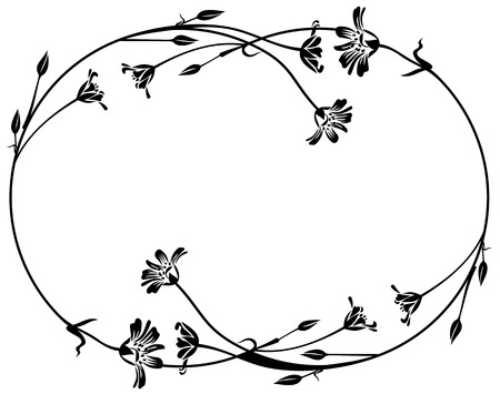 floral outline round frame Vector