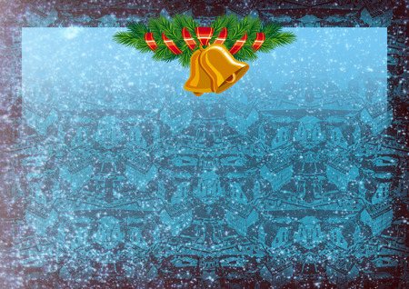 Holiday background with Christmas bells and winter city silhouette