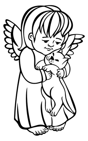 Little angel and cat outline