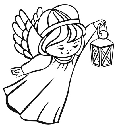outline image of flying angel with lantern Vector