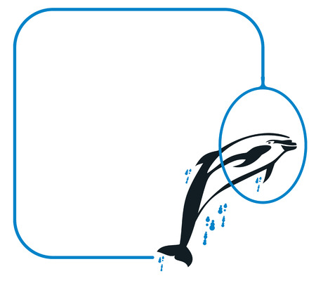 Frame with jumping  dolphin Vector