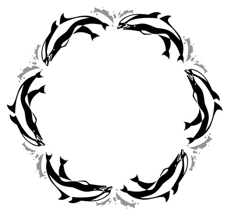 Round frame with jumping  dolphin Vector