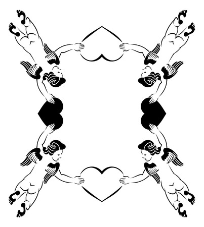 cupido: Valentine frame with cupids Illustration