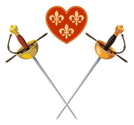rapiers and heart isolated on a white background Vector