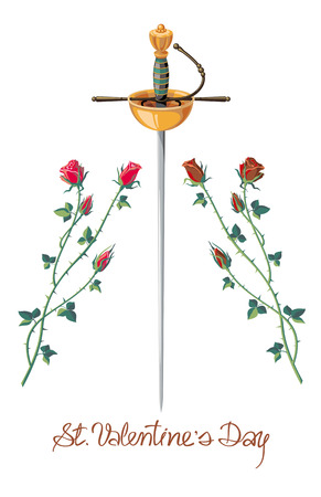 sword and heart: Valenine Day card with rapier and roses isolated on a white background