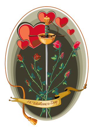sword and heart: Valenine Day card with rapier and roses Illustration