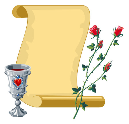 paper scroll: Paper scroll with goblet and roses Illustration
