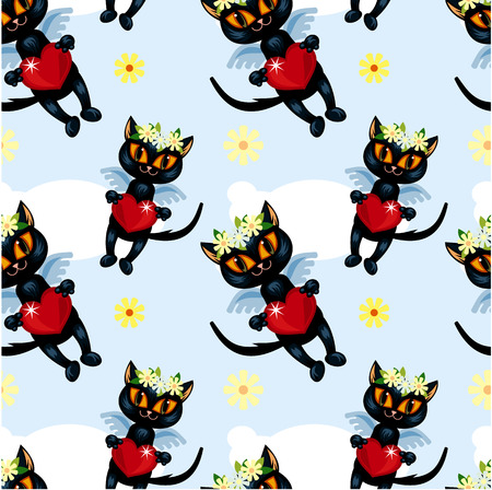angel cat: Seamless pattern with flying black cat Illustration