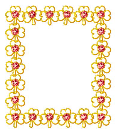 shamrocks: Jewelry frame with diamond shamrocks Illustration