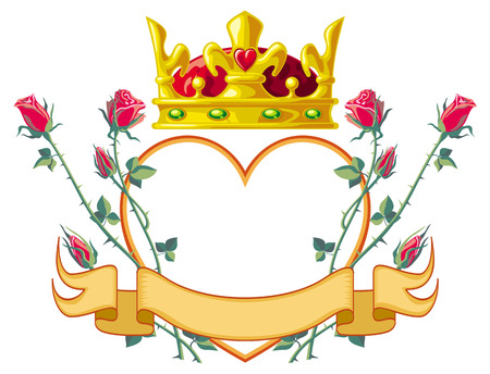 heart and crown: Heart shaped frame with roses and crown