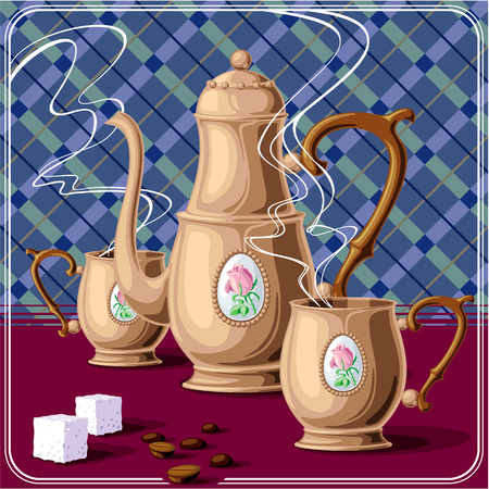 coffee pot: Copper coffee pot and two cups