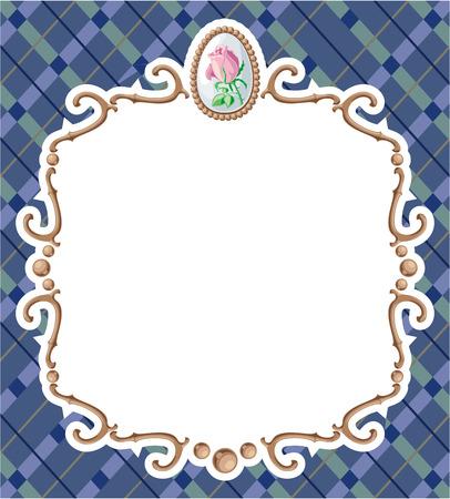 a tablecloth: Bronze frame on a tablecloth