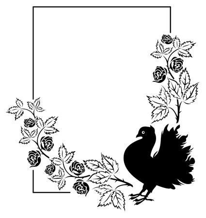 unusual valentine: Vector frame with roses and pigeon silhouette Illustration