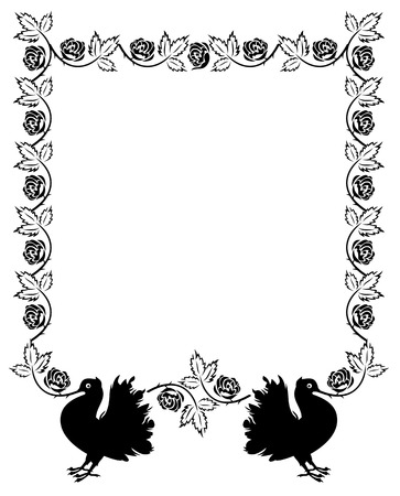 copysapce: Vector frame with roses and pigeon silhouette Illustration