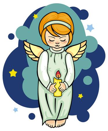 angeles bebe: �ngel con la vela Vectores