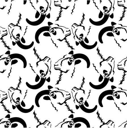 textil: Seamless pattern with a rams heads