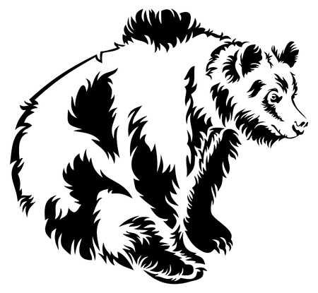 Bear black and white silhouette Vector