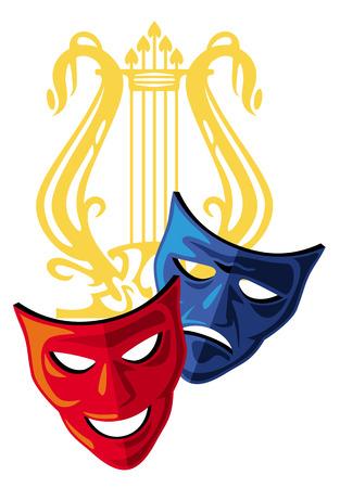 Two masks and lyra Illustration