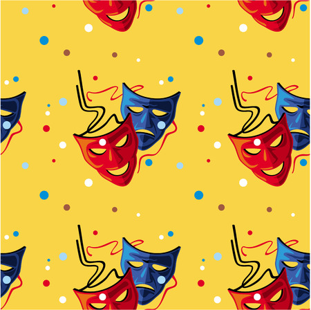 theater masks: Seamless pattern with two theater masks