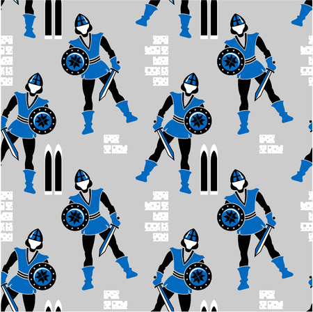 Seamless pattern with figures of medieval guards Vector
