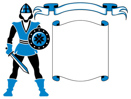 Text frame with a figure of medieval guard Vector