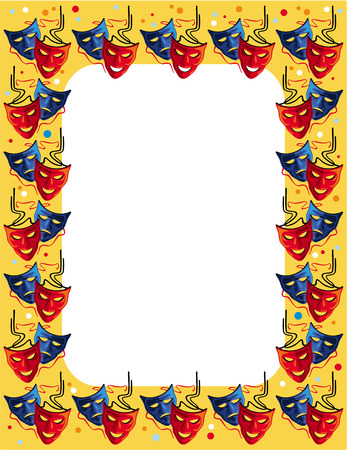 classical theater: Frame with theatre masks