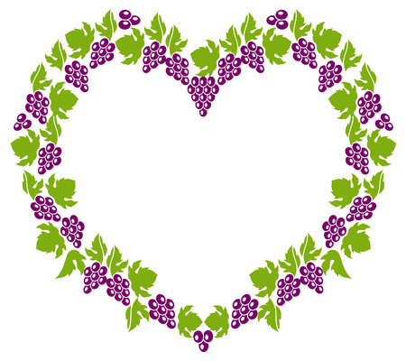 grapes in isolated: Heart shaped frame with grapes isolated on a white background