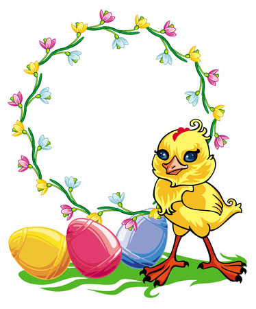 chiken: Easter chicken and round frame with flowers