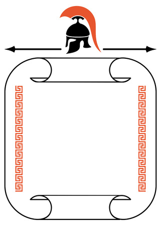 troy: Frame with Greek helmet silhouette, meander and paper scroll Illustration