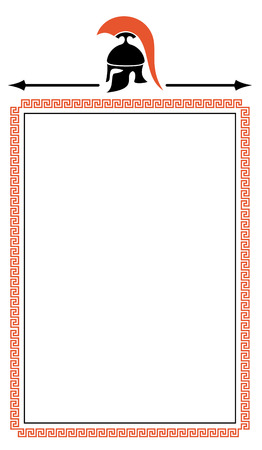 troy: Frame with meander and Greek helmet silhouette