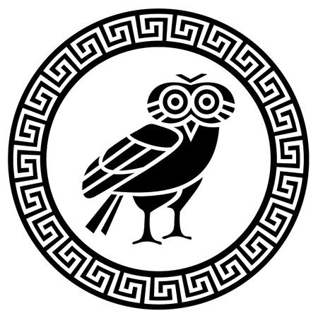 lechuzas: Meandro griego Ronda y el búho silueta Vectores