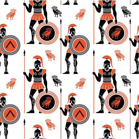 troy: Seamless pattern with ancient Greek warriors