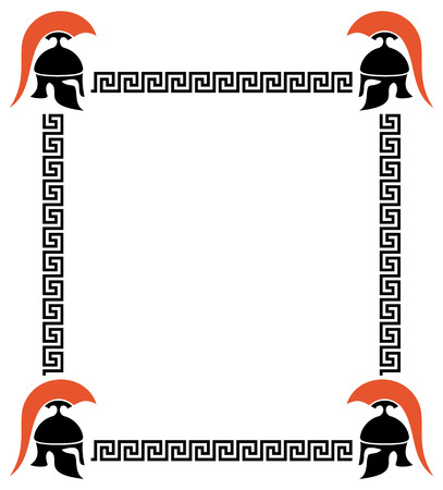 Vector frame with Greek helmets and meander Illustration