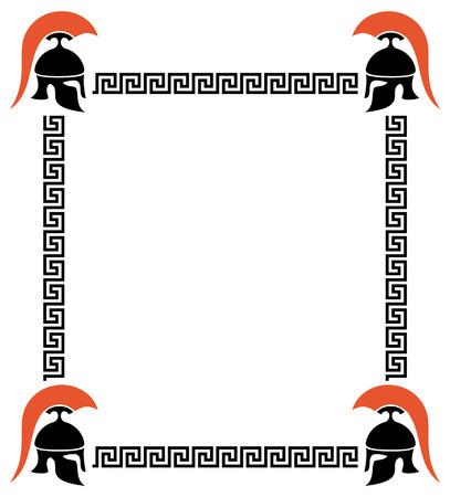 troy: Vector frame with Greek helmets and meander Illustration
