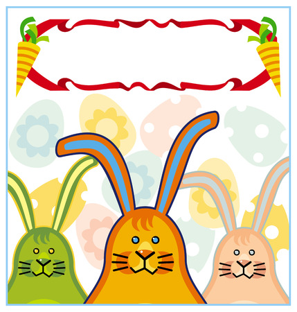 Holiday background with Easter bunnies and free space for greetings Vector