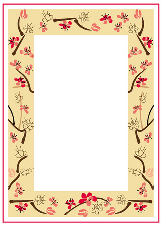 Frame with ink-painted blooming plum-tree Illustration