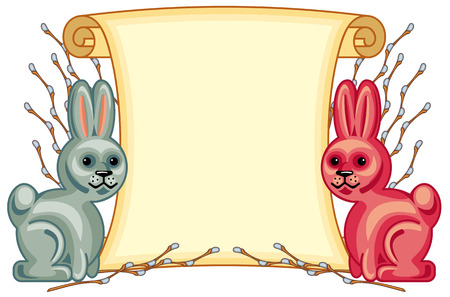 spring roll: Paper scroll with Easter bunnies and willow branches