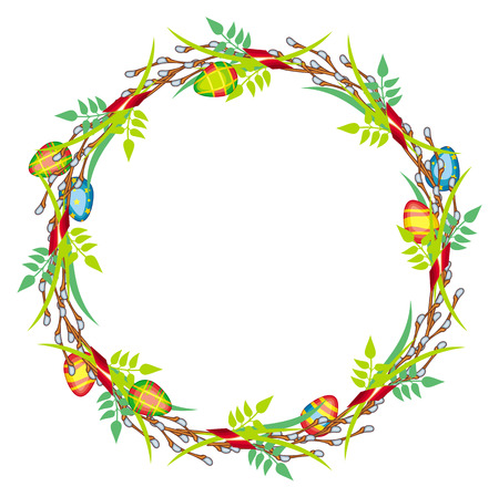 pussy: Garland with Easter eggs and willow branches Illustration